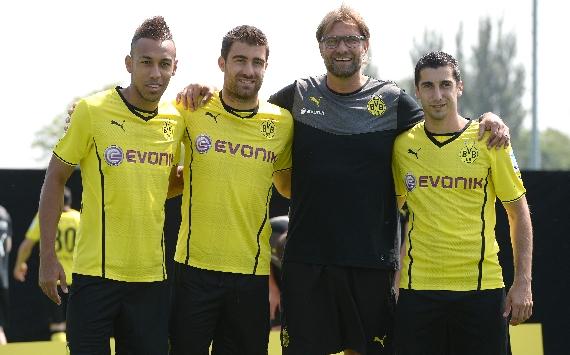 Henrikh Mkhitaryan, Jürgen Klopp, Aubameyang; Borussia Dortmund