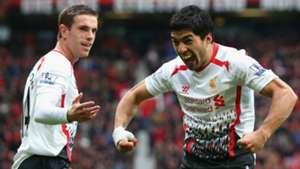 Jordan Henderson Luis Suarez Liverpool 16032014
