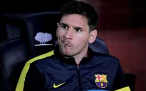 Lionel Messi on the bench