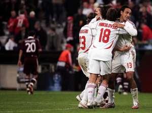 Milan celebrate against Bayern Munich - UEFA Champions League Quarter Final 2006-2007