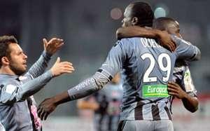 Kenya striker and captain Dennis Oliech celebrates scoring for AC Ajjacio
