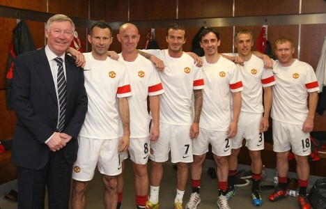 Ferguson, Giggs, Butt, Beckham, Gary and Phil Neville, Paul Scholes