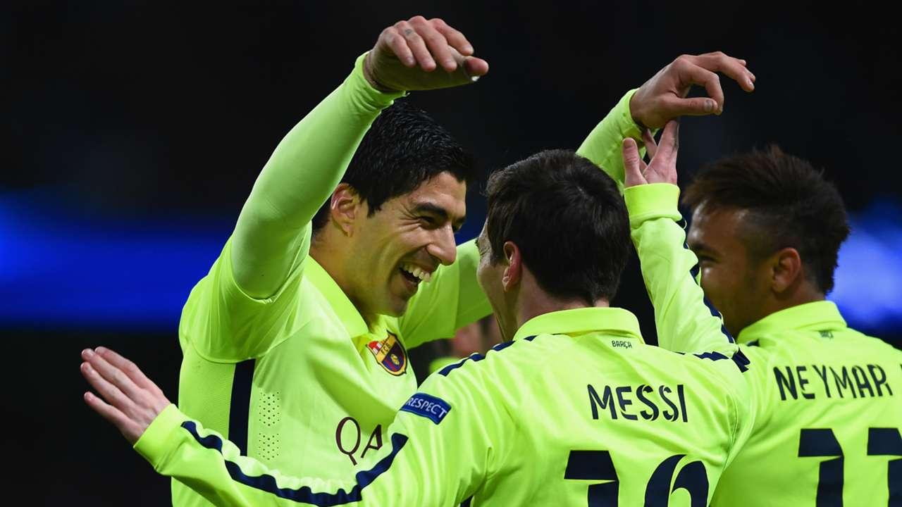 Luis Suarez, Lionel Messi Barcelona vs Manchester City