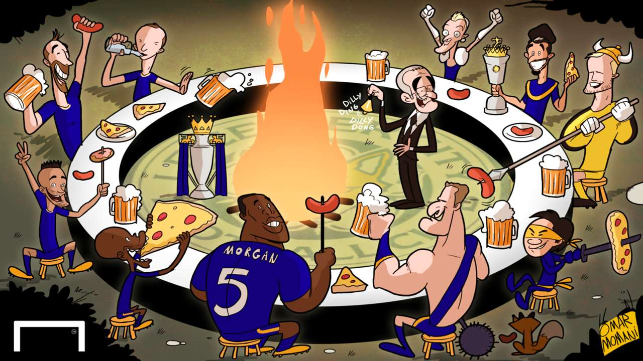 Cartoon Leicester City champions feast