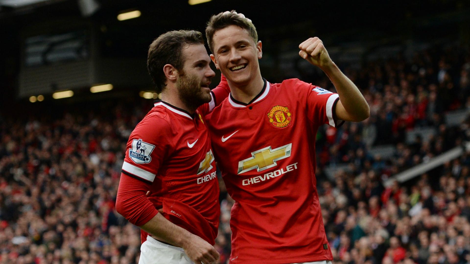Juan Mata Ander Herrera Manchester United Aston Villa 04042015