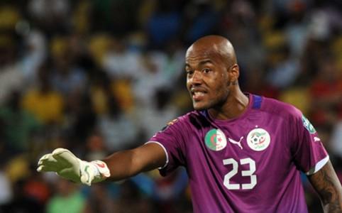 Algeria goalkeeper Rais Mbolhi reacts