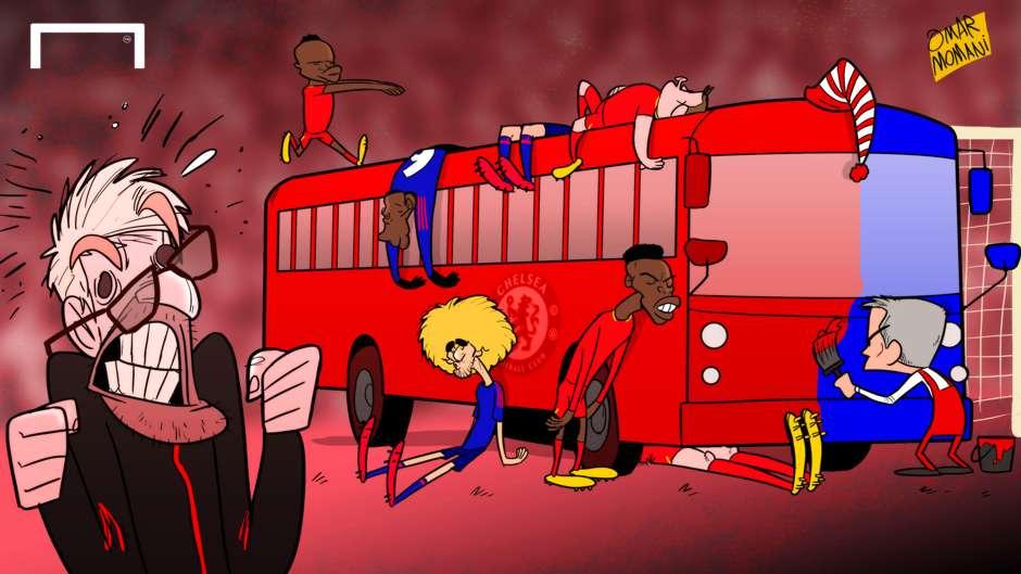 Cartoon Jose Mourinho bus Man Utd Liverpool