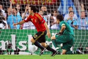 Spain v Italy Cesc Fábregas celebrating Euro 2008