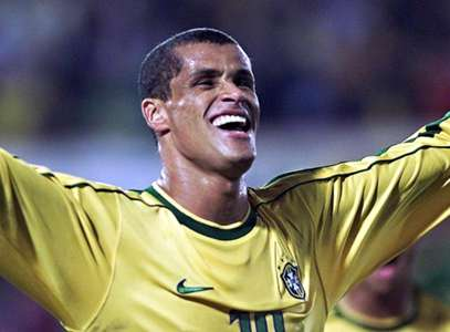 Brazil's Rivaldo celebrates