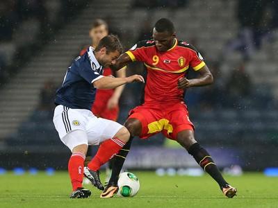 FIFA 2014 World Cup Qualifier- Scotland vs Belgium, Christain Benteke and Shaun Maloney