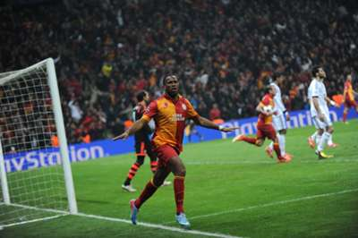 UCL: Didier Drogba (Galatasaray) celebrates goal against Real Madrid