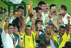 Brazil celebrate winning the 2002 World Cup