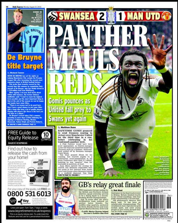 Daily Express backpage 30-08-2015