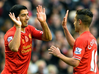 Luis Suarez; Philippe Coutinho LIVERPOOL vs FULHAM English Premier League 11092013