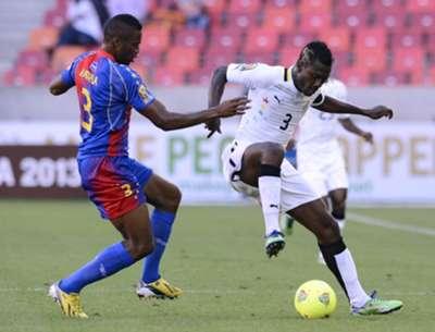 Cape Verde's Fernando Varela vies with Asamoah Gyan, Ghana - 2013 Afcon