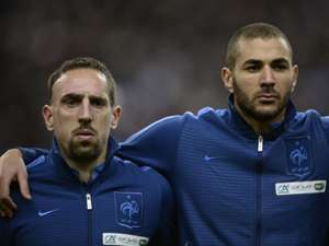 Karim Benzema Franck Ribery  France Ukraine  2014 World Cup qualifying play-off  1192013