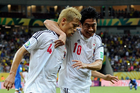 Japan midfielders Keisuke Honda and Shinji Kagawa