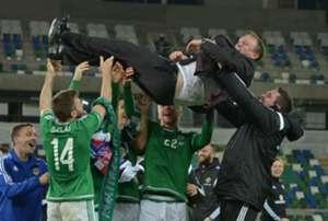 Northern Ireland celebrate Euro 2016 qualification