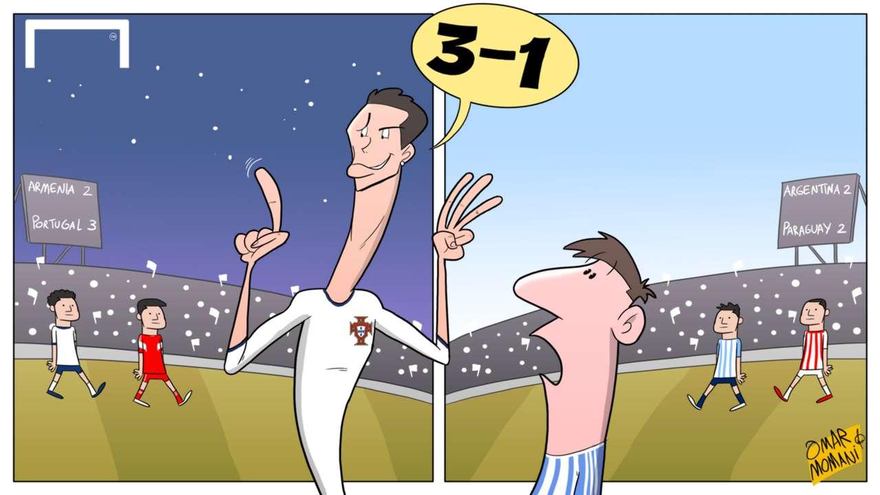 Cartoon of the Day: Ronaldo Portgual; Messi Argentina
