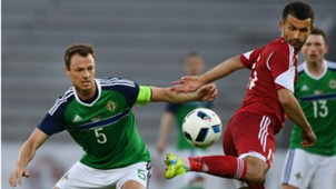 Jonny Evans of Northern Ireland playing in an international friendly versus Belarus