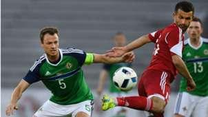 Jonny Evans of Northern Ireland playing in an international friendly versus Belarus
