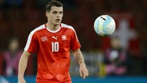 Switzerland's Granit Xhaka eyeing up the ball