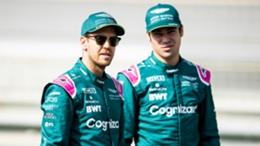 Aston Martin drivers Sebastian Vettel (left) and Lance Stroll
