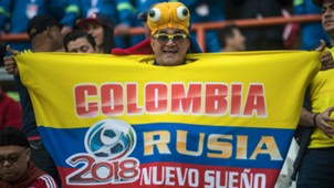 A supporter of Colombia waits for the start of the 2018 World Cup qualifier football match against Peru in Lima 10102017