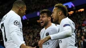 Kylian Mbappe, Juan Bernat and Neymar PSG Champions League 11282018