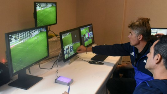 FIFA referees during a video assistance training course in Luque 14092017