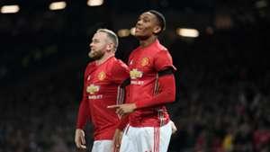 Wayne Rooney and Anthony Martial Manchester United v West Ham EFL Cup 11302016