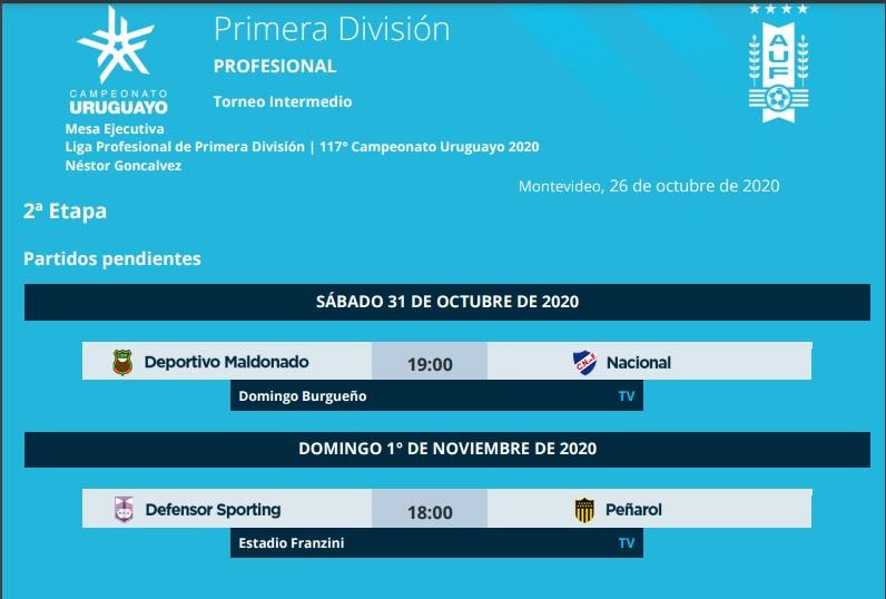 Nacional and Peñarol rescheduled matches