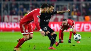 Dani Alves and James Rodriguez Bayern Munich v PSG Champions League 12052017