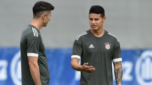 James Rodriguez Robert Lewandowski Bayern Munich training session 11092017