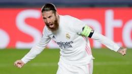 Sergio Ramos Real Madrid v Atalanta Champions League 03162021
