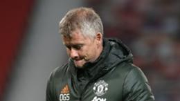 Manchester United manager Ole Gunnar Solskjaer looks downcast
