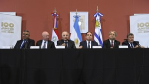 Press conference on their countries joint bid for the 2030 World Cup at the Casa Rosada presidential house in Buenos Aires 09042018