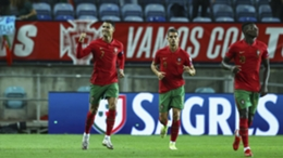 Cristiano Ronald celebrates with team-mates after Portugal raced into the lead against Luxembourg