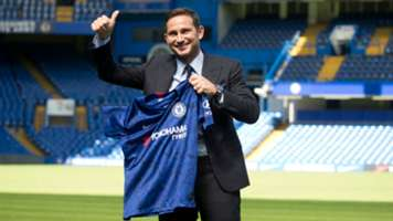 Frank Lampard gives a thumbs up as he poses at Stamford Bridge in London 04072019