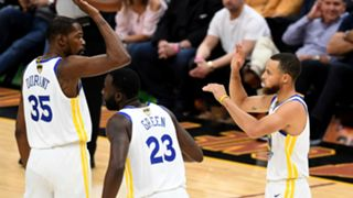 Kevin Durant, Draymond Green and Stephen Curry Golden State Warriors at Cleveland NBA Finals 2018 06082018