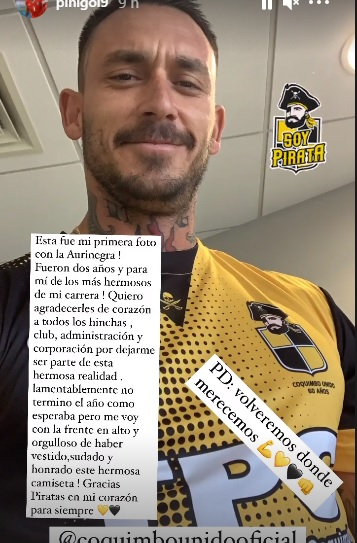 Mauricio Pinilla post Instagram