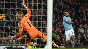 Sergio Aguero Manchester City v Leicester City Premier League 10022018