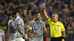 Paraguayan referee Eber Aquino shows a red card to Cruzeiro's Brazilian defender Dede Boca Juniors vs Cruzeiro Copa Libertadores 09192018