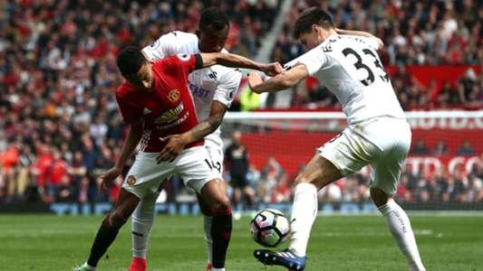 Federico Fernandez y Jesse Lingard Manchester United vs Swansea City Premier League 30042017