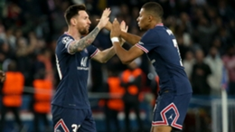Messi and Mbappe celebrate against RB Leipzig on Tuesday