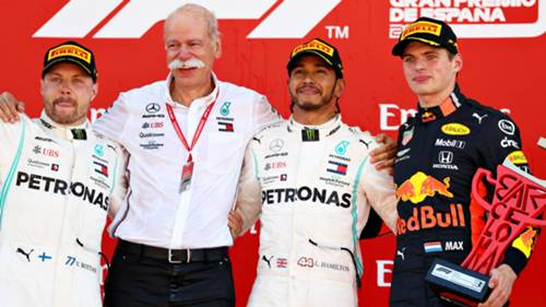 Bottas Hamilton Verstappen Ispanya GP Podyum
