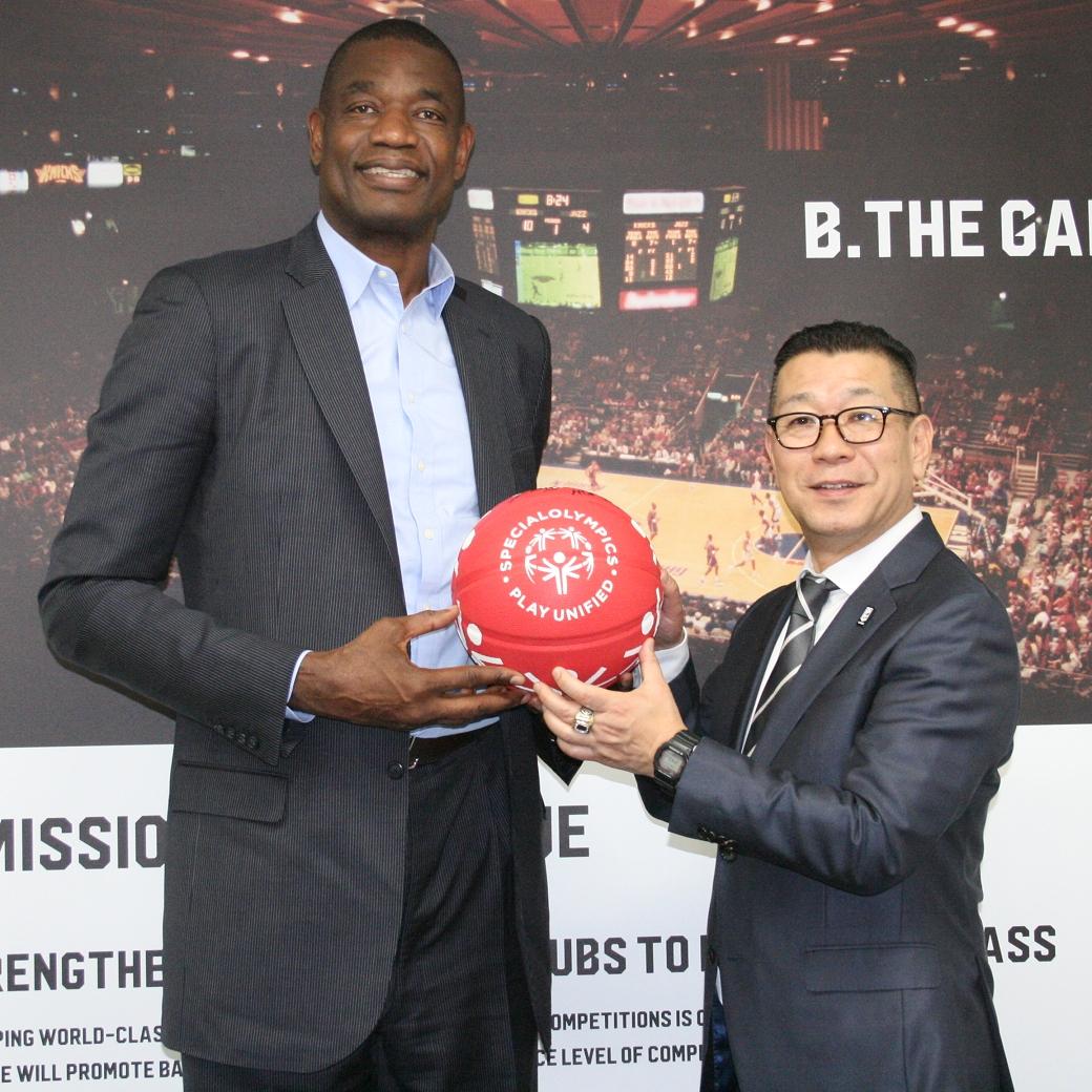 Dikembe Mutombo Masaaki Okawa B.League Chariman