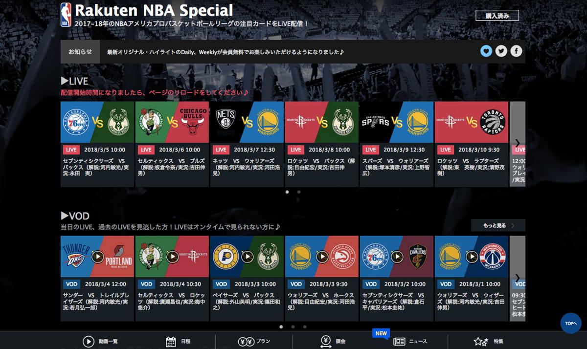 楽天TV Rakuten NBA Special 5