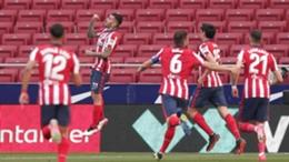 Atletico Madrid's Angel Correa (second left) celebrates against Eibar
