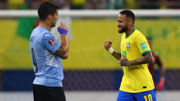 Neymar Jr. of Brazil celebrates after scoring celebrates the first goal of his team a match between Brazil and Uruguay as part of South American Qualifiers for Qatar 2022